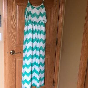 Sea foam green and white chevron dress